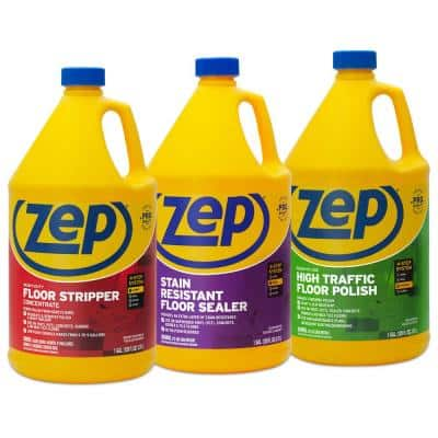 128 oz. High-Traffic Floor Polish with Stain-Resistant Floor Sealer 128 oz. and HD Floor Stripper 128 oz. (3-Pack Combo)