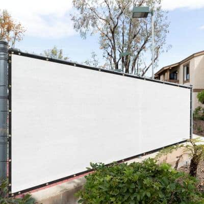 57 in. x 10 ft. White Mesh Fabric Privacy Fence Screen with Perimeter Stitched Edges and Grommets