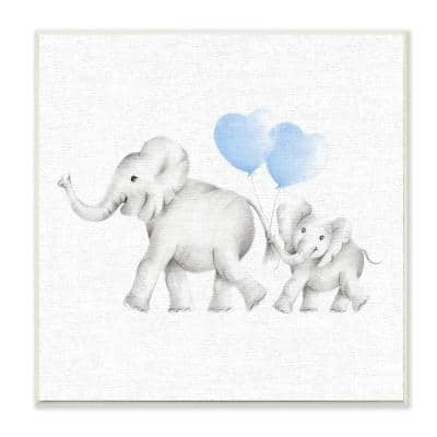 """12 in. x 12 in. """"Elephant Family Blue Balloon Linen Look"""" by Studio Q Printed Wood Wall Art"""