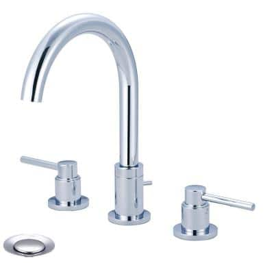 Motegi 8 in. Widespread 2-Handle High Arc Bathroom Faucet in Polished Chrome with Drain Assembly
