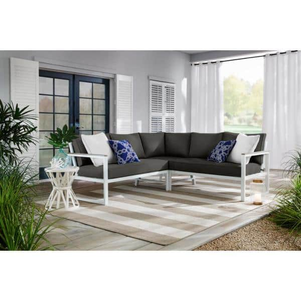 Hampton Bay West Park White Aluminum Outdoor Patio Sectional Sofa Seating Set With Cushionguard Graphite Dark Gray Cushions H149 01429300 The Home Depot