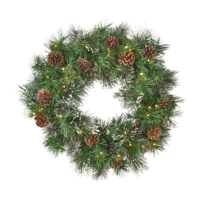 24 in. Battery Operated Pre-Lit LED Artificial Christmas Wreath with Snowy Branches and Pinecones