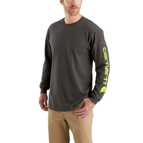 Carhartt Men S 4x Large Peat Cotton Signature Sleeve Logo Long Sleeve T Shirt Original Fit K231 306 The Home Depot