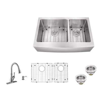 All-in-One Farmhouse Apron Front 16-Gauge Stainless Steel 33 in. 60/40 Double Bowl Kitchen Sink with Pull Out Faucet