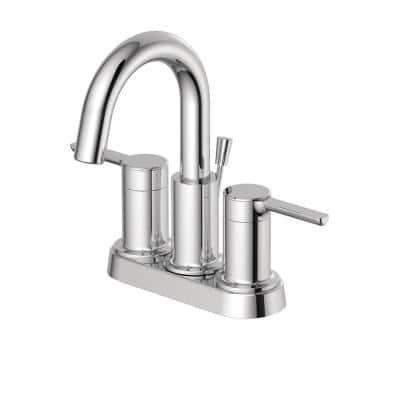 Metro Collection 4 in. Centerset 2-Handle Bathroom Faucet with 50/50 Pop-Up in Chrome
