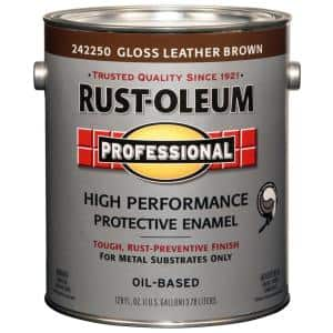 1 gal. High Performance Protective Enamel Gloss Leather Brown Oil-Based Interior/Exterior Metal Paint (2-Pack)
