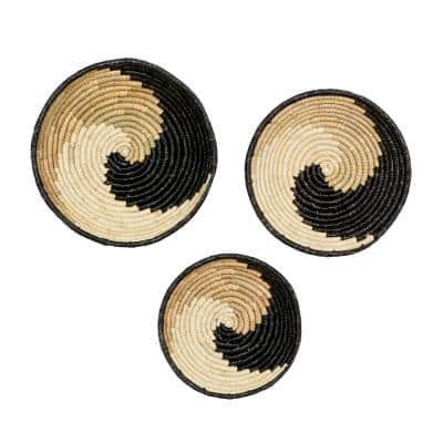 20 in. x 20 in. Black Wood Natural Wall Decor (Set of 3)