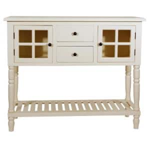 Morgan 42 in. Antique White Standard Rectangle Wood Console Table with Drawers