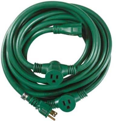 25 ft. 14/3 Multi-Outlet (3) Garden Outdoor Medium-Duty Extension Cord, Green