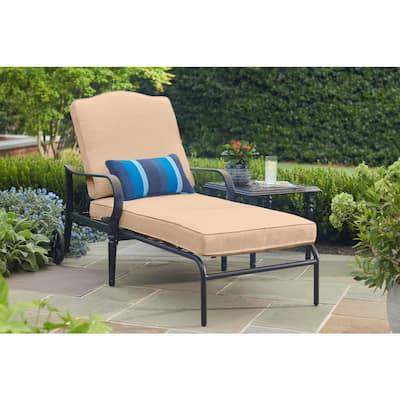 Laurel Oaks Brown Steel Outdoor Patio Chaise Lounge with Sunbrella Beige Tan Cushions