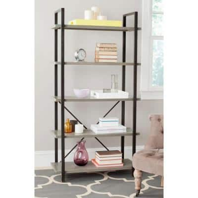 65 in. French Gray Metal 5-shelf Etagere Bookcase with Open Back