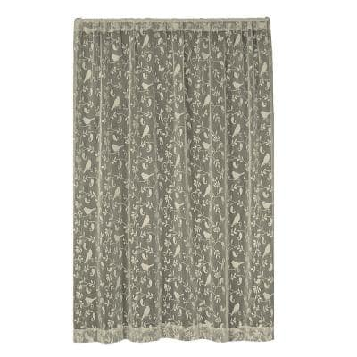 Cafe Floral Lace Rod Pocket Sheer Curtain - 60 in. W x 84 in. L