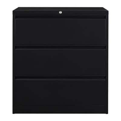 Black Lateral Steel Decorative Lateral File Cabinet with 3-Drawers