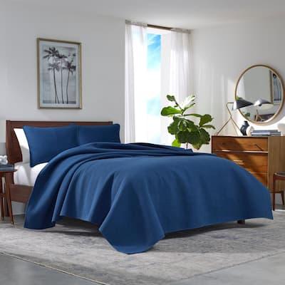 Haverhill 3-Piece Navy Blue Solid Cotton King Quilt Set