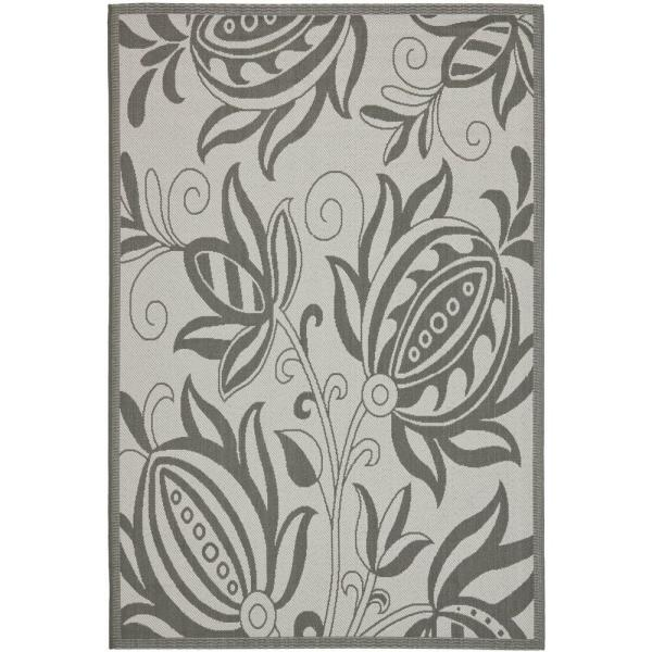 Safavieh Courtyard Light Gray Anthracite 4 Ft X 6 Ft Indoor Outdoor Area Rug Cy6109 78 4 The Home Depot
