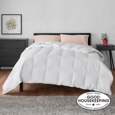 All Season Down Feather Blend Cotton White King Comforter