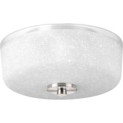 Alexa Collection 2-Light Brushed Nickel Flush Mount with Textured White Linen Glass