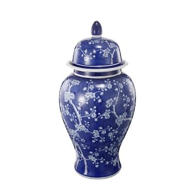 18 in. Blue, White Cherry Blossoms Ginger Jar
