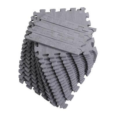 "Soft EVA Foam Mat Flooring Tiles, Gray Wood Print, 16 PC, 12"" x 12"", 16 sq. ft."