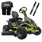 48V Brushless 38 in. 75 Ah Battery Electric Rear Engine Riding Lawn Mower and Bagging Kit