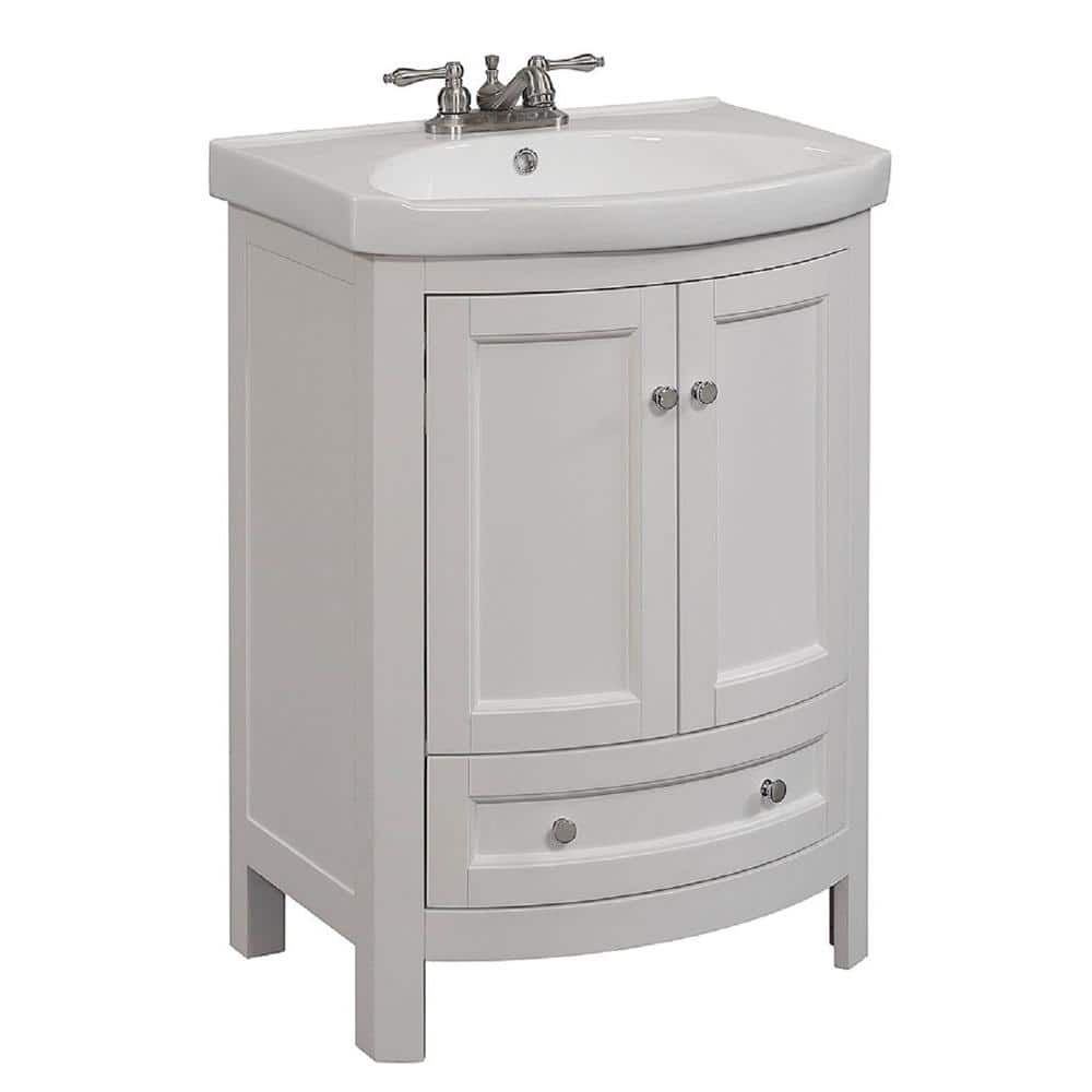 Runfine 24 In W X 19 In D X 34 In H Vanity In White With Vitreous China Vanity Top In White And White Basin Rfva0069w The Home Depot