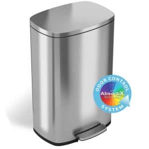 SoftStep 13.2 Gal. Stainless Steel Pedal Step Trash Can with Odor Filter System and Inner Bucket for Office and Kitchen