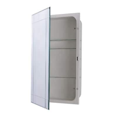 Sumner 16 in. x 26 in. Frameless Recessed or Surface Mount Beveled Mirror Medicine Cabinet