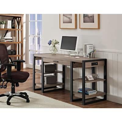 60 in. Ash Grey Rectangular 1 -Drawer Writing Desk with Keyboard Tray
