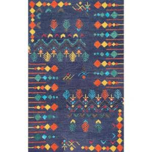 Nuloom Artie Bohemian Navy 3 Ft X 5 Ft Area Rug Riry05a 305 The Home Depot