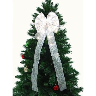 9 in. White Ribbon LED 36-Light Bow