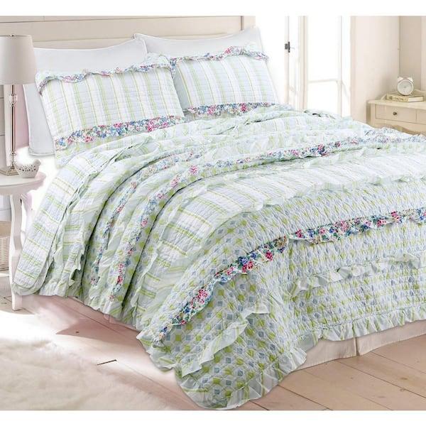 Green Cotton Queen Quilt Bedding Set, Light Green Quilt Bedding