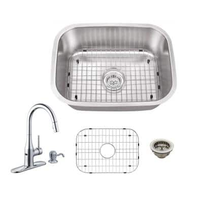 All-in-One Undermount Stainless Steel 23-1/4 in. 0-Hole Single Bowl Bar Sink with Faucet