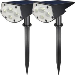 Solar 3.7-Volt Black Light Sensing 20 LED Landscape LED Spotlights Light for Garden, Path, Lawn (2-Pack)