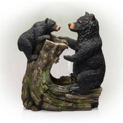 26 in. Tall Bear and Cub with Tree Fountain Yard Statue Decoration