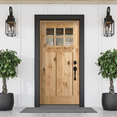 36 in. x 80 in. Craftsman Knotty Alder 6-Lite Clear Glass with Dentil Shelf Unfinished Wood Front Door Slab