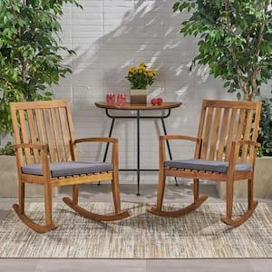 Montrose Teak Brown Wood Outdoor Rocking Chair with Dark Grey Cushions