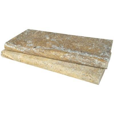 12 in. x 24 in. Tuscany Beige Gold Brushed Travertine Pool Coping (40 Pieces/80 sq. ft./Pallet)