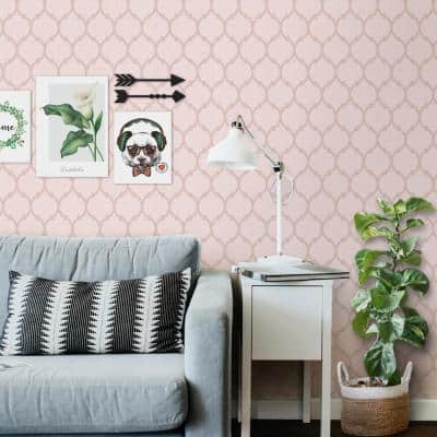 Moroccan Trellis Texture Pink Vinyl Non-Woven Strippable Roll Wallpaper Covers 59.2 sq. ft.
