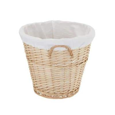 Natural Wicker Laundry Basket with Handles and Liner