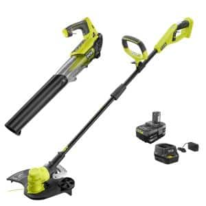 ONE+ 18V Cordless Battery String Trimmer/Edger and Jet Fan Blower Combo Kit - 4.0 Ah Battery/Charger Included