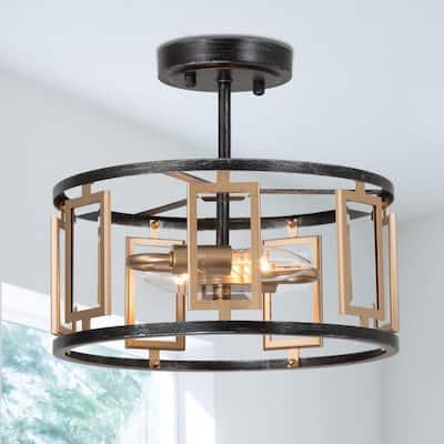 Semi Flush Mount Lighting Vintagena 2-Light Antique Brushed Black And Brass Gold Semi-Flush Mount Ceiling Light