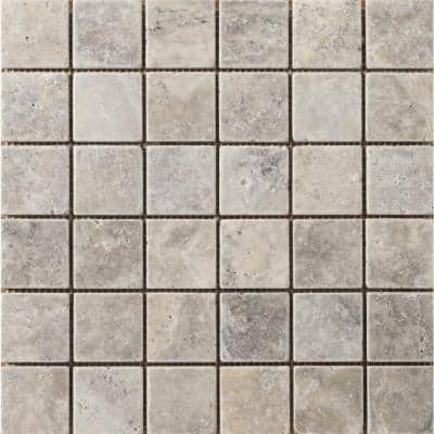 Trav Ancient Tumbled Silver 12 in. x 12 in. x 10 mm Mesh-Mounted Mosaic Floor and Wall Tile (1 sq. ft.)