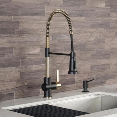 Britt Single-Handle Pull Down Kitchen Faucet with Dual Function Sprayer in Brushed Gold/Matte Black