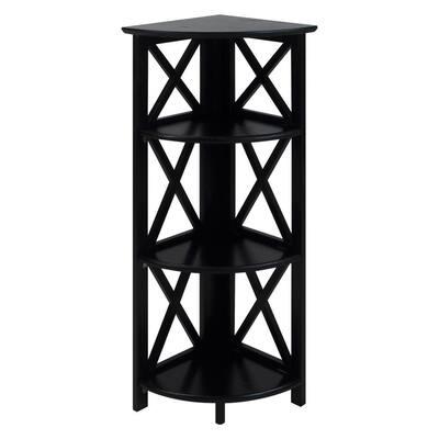 38.75 in. H Black New Solid Wood 4-Shelf Cornor Etagere Bookcase