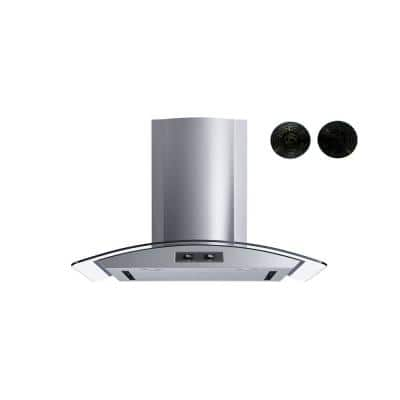 30 in. Convertible Wall Mount Range Hood with Mesh and Charcoal Filters and Stainless Steel Panel