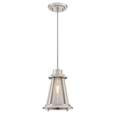 Beatrix 1-Light Brushed Nickel Mini Pendant with Mesh and Clear Glass Shade