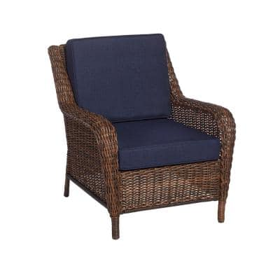 Cambridge Brown Wicker Outdoor Patio Lounge Chair with CushionGuard Midnight Navy Blue Cushions