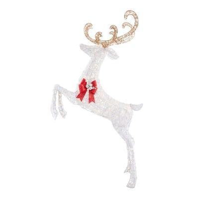 84 in. Warm White 240-Light LED White Jumping Deer