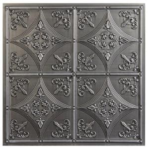 Basilica 2 ft. x 2 ft. Lay-in or Glue-up Ceiling Tile in Antique Nickel (40 sq. ft. / case)