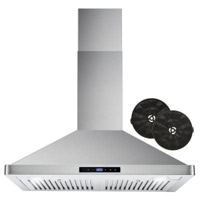 30 in. Ductless Wall Mount Range Hood in Stainless Steel with LED Lighting and Carbon Filter Kit for Recirculating
